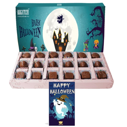 BOGATCHI Halloween Gifts, Premium Chocolate Candy Box, Pumpkin Shape Chocolates - Mango, Strawberry and Orange Flavors, 18 Pieces, Free Halloween Greeting Card for Celebrations