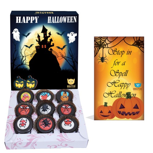 BOGATCHI Halloween Gifts, Premium Chocolate Candy Box with Spider Man Sugar Toys, 9 Pieces, Free Halloween Greetings Card